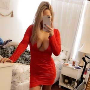 Dresses & Skirts - Open Back Red Dress